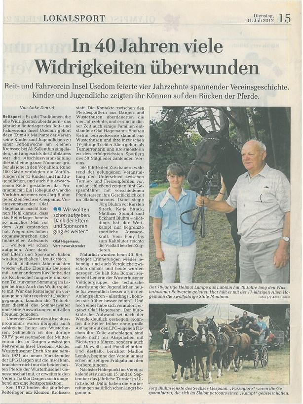 Ostsee-Zeitung 31.07.2012