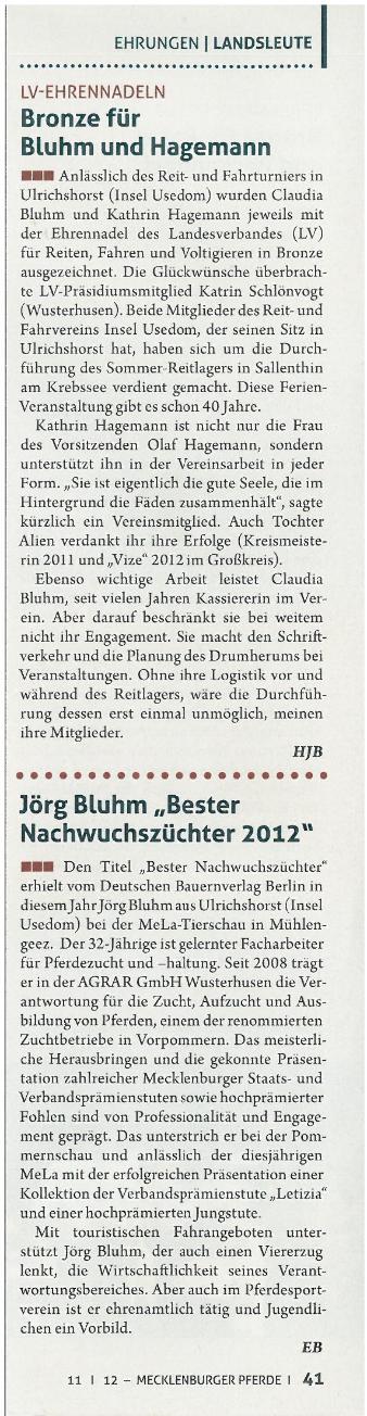 Artikel Mecklenburger Pferd 11/2012
