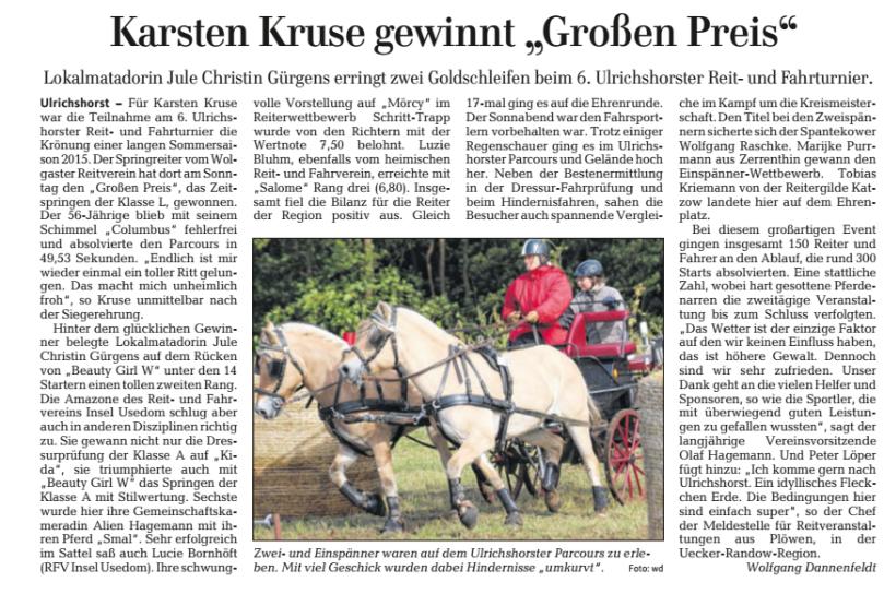 Ostsee-Zeitung 08.09.2015