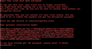 web page warning Ooops your files have been encrypted!