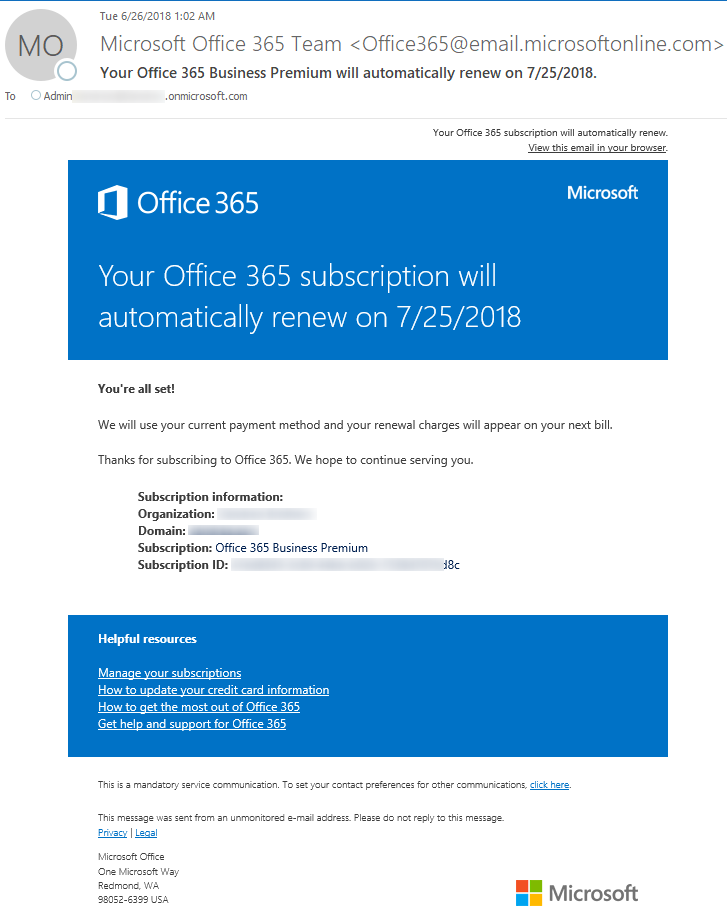 Genuine Microsoft Office 365 Premium Renewal Notification email example