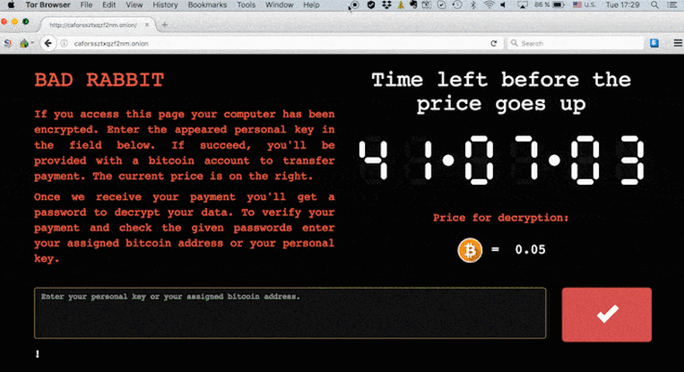 BAD Rabbit web page example, black background, red text with count down clock