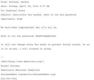Rachel Palermo password change email