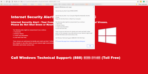Fake Security Alert Web Page - Red - call technical support 888 Toll Free