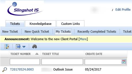Client Portal Ticket Listing