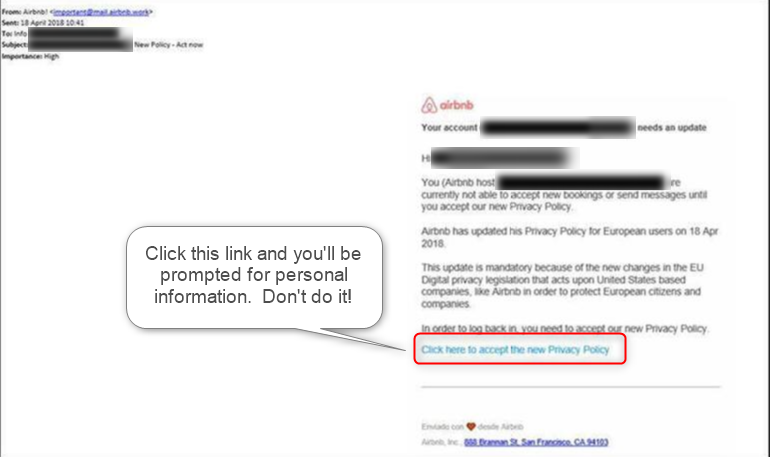 Airbnb phishing email example
