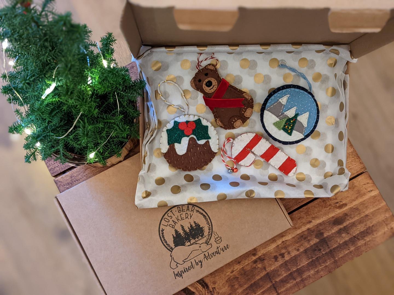 Tree decoration - selection: Bernie Bear, Snow Globe, Candy Cane & Christmas Pud