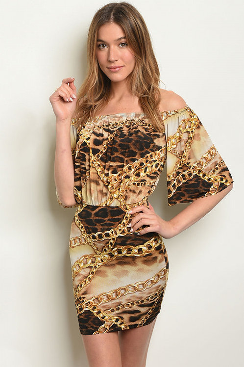 TAUPE BROWN WITH CHAIN PRINT DRESS