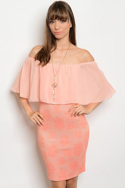 PEACH OFF SHOULDER DRESS