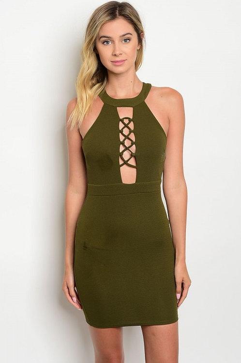OLIVE LACE-UP DRESS
