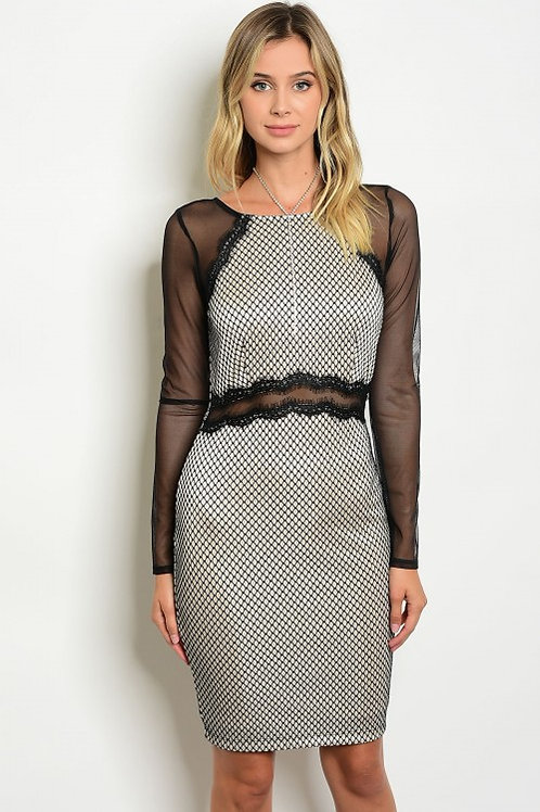 BLACK SAND LACE MESH DRESS
