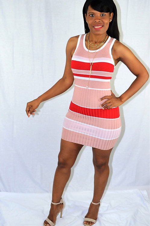 BLUSH RED STRIPES DRESS