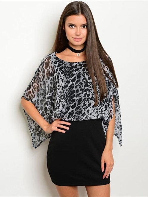 BLACK GRAY DRESS