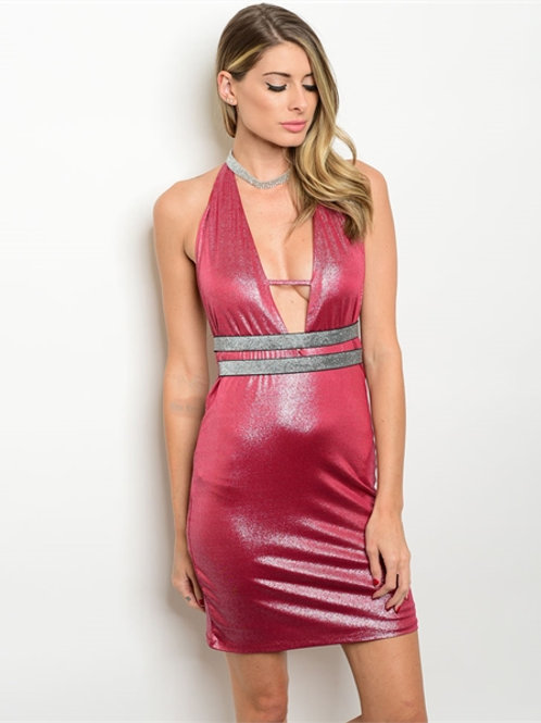 RED SILVER SHIMMER DRESS