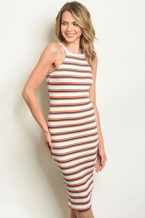 Ivory Multi Stripes Dress