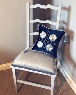 Chair and goldwork cushion