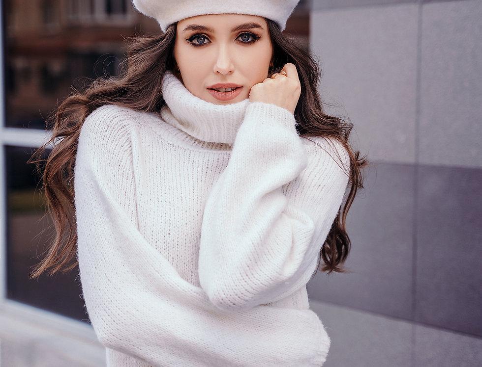 White hand-made sweater