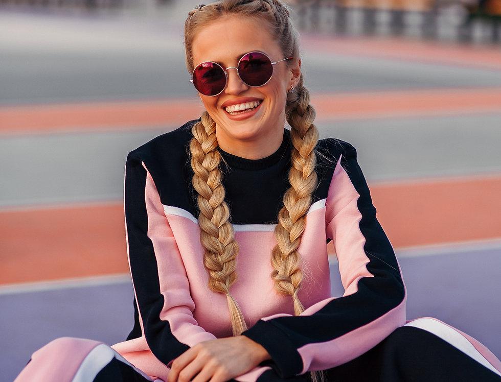 Black & pink knitwear suit
