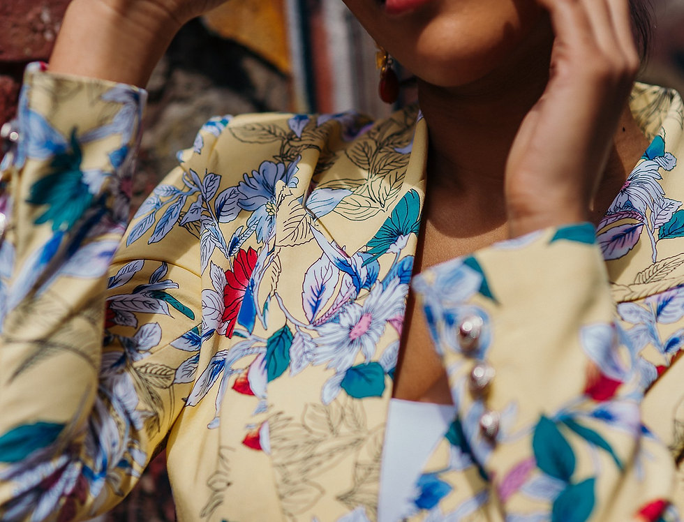Cotton yellow floral Jacket