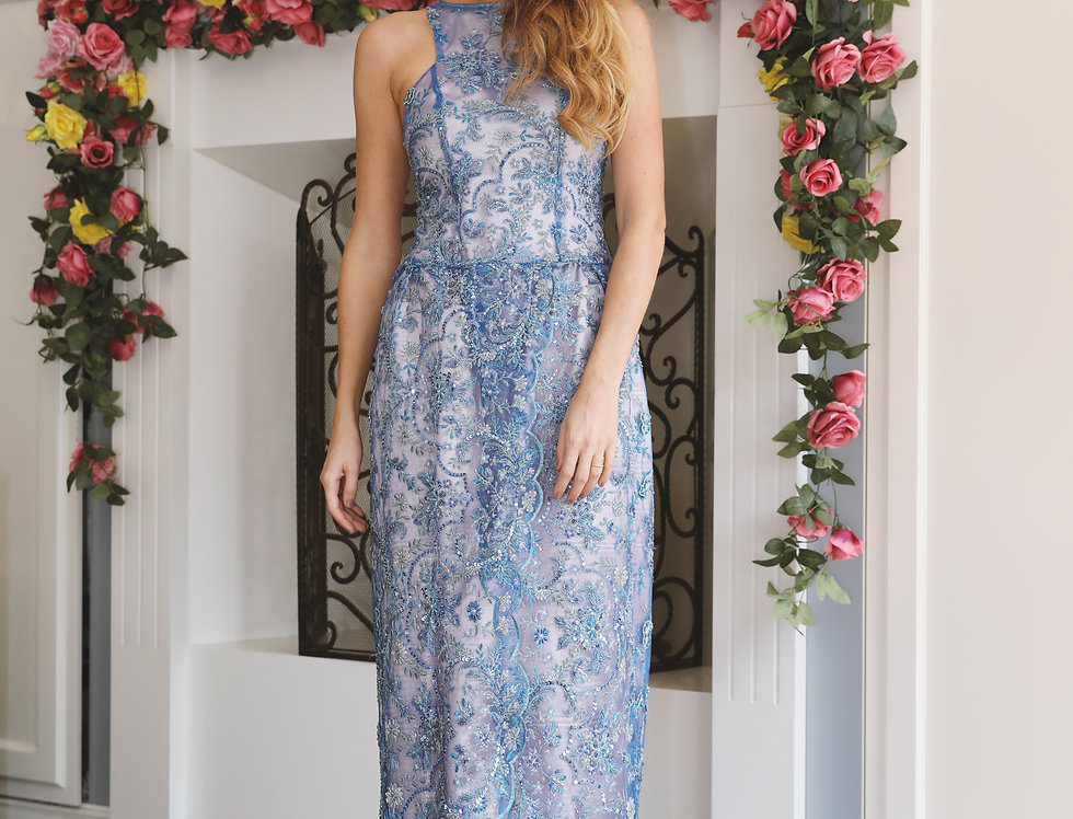 Blue embroidered lace gown