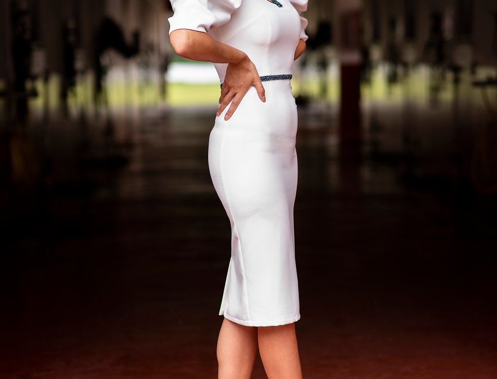 White dress with puffed sleeves