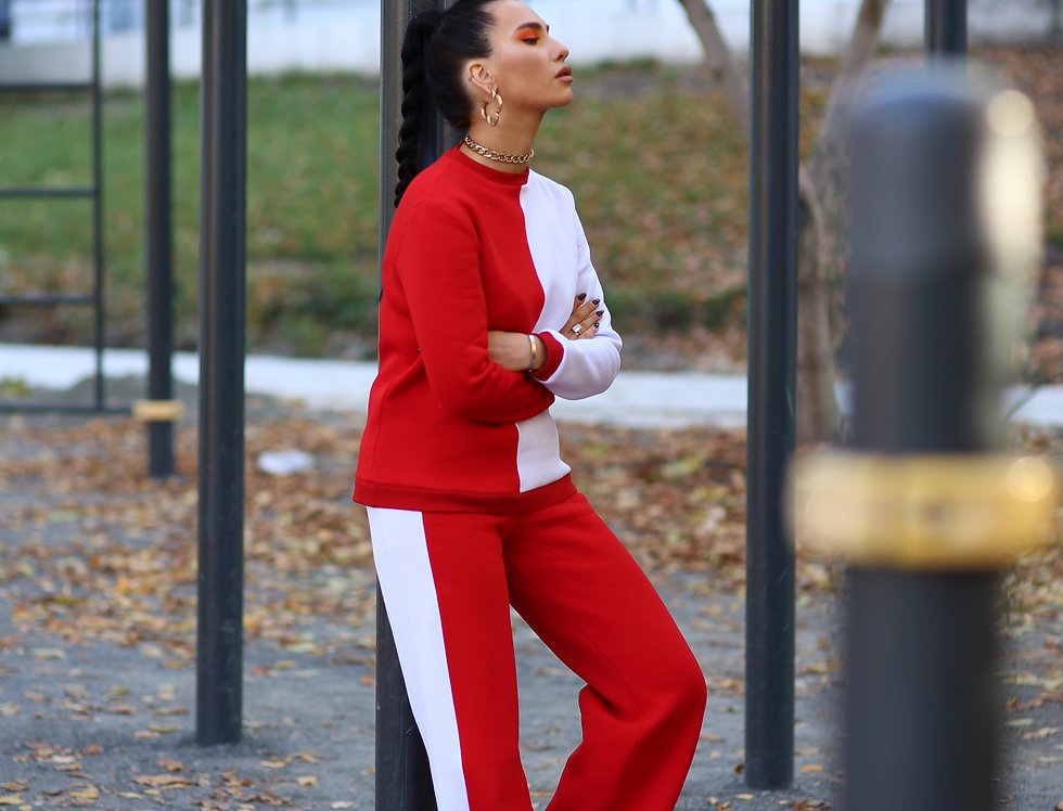 Knitwear red&white pants