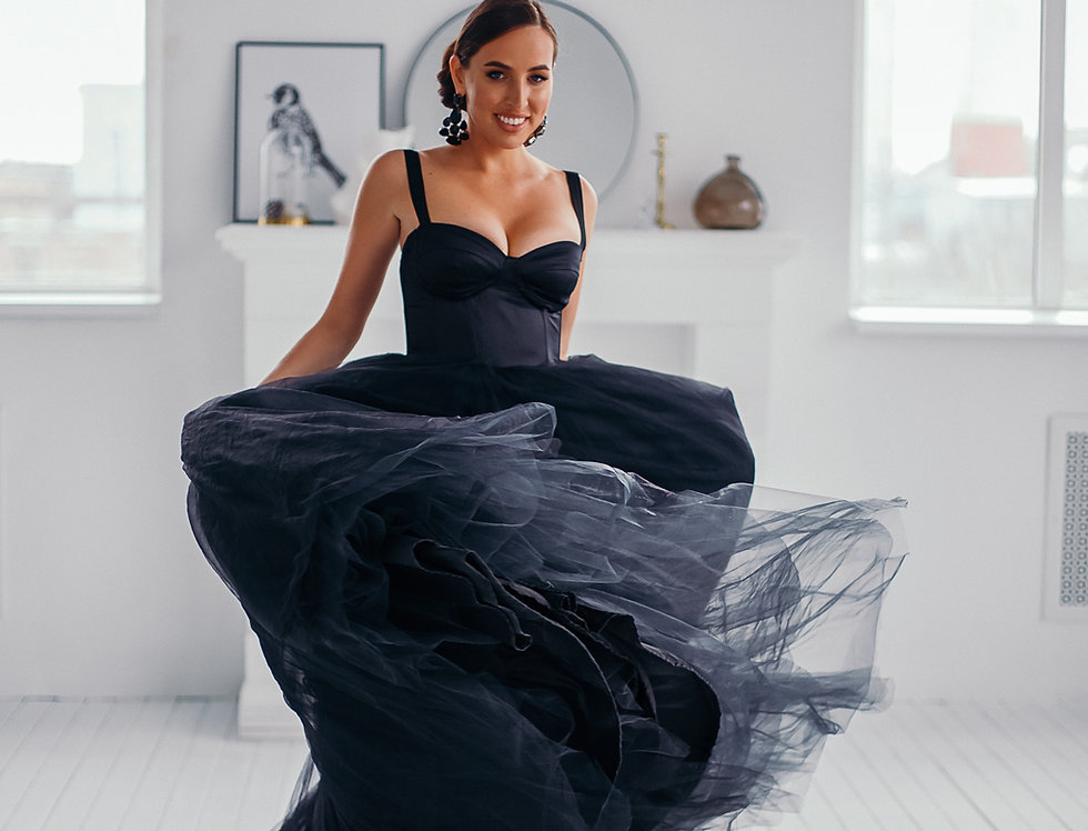 Black corset dress with tulle skirt