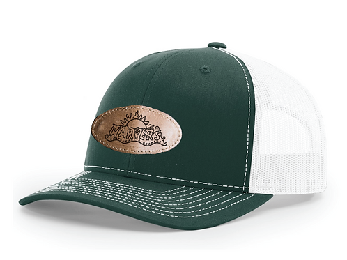 Harper's Green + White Leather Patch Hat