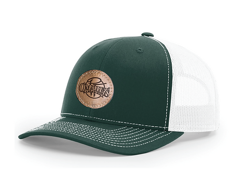 PT's Green + White Leather Patch Hat