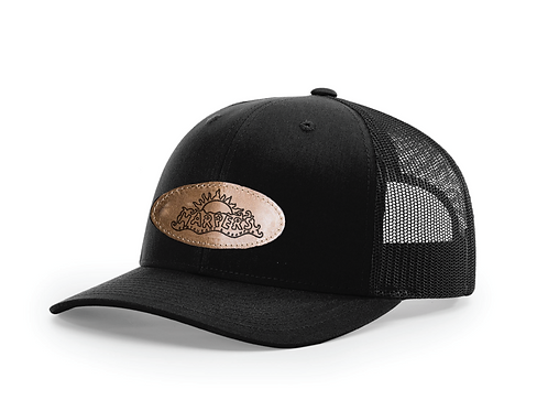 Harper's Black on Black Leather Patch Hat