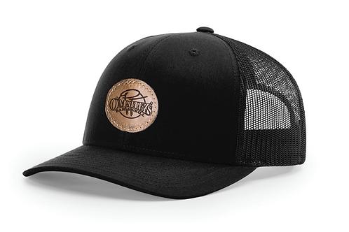 PT's Black on Black Leather Patch Hat