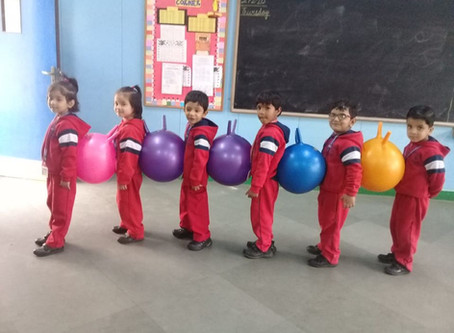 The ball balancing activity was organised for Nursery students at GBN Sr Sec School