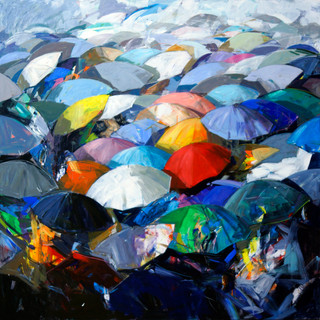 Pioggia di ombrelli