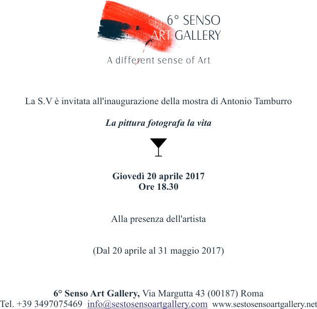 """Antonio Tamburro Exhibition """"La pittura fotografa la vita"""" Sesto Senso Art Gallery"""