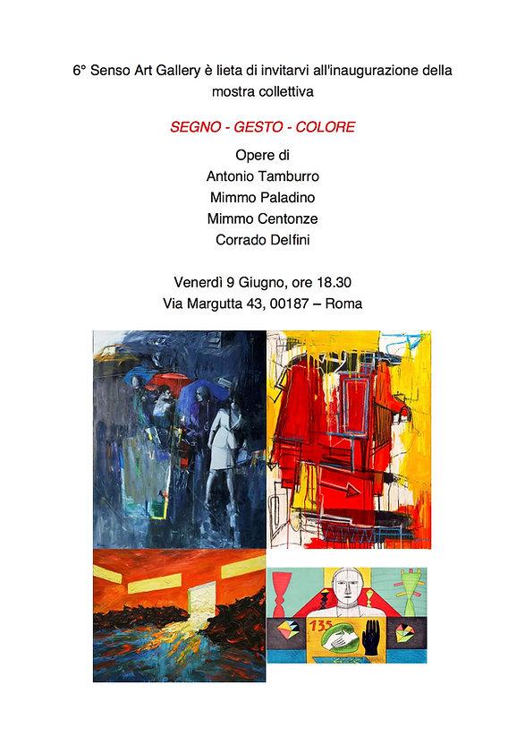 Invito mostra collettiva Segno - Gesto - Colore, Sesto Senso Art Gallery
