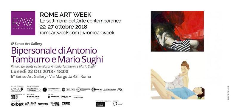 Invito Rome Art Week, Mostra di Antonio Tamburro e Mario Sughi, Sesto Senso Art Gallery