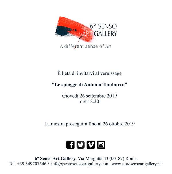 """Invito mostra """"Le spiagge di Antonio Tamburro"""" Sesto Senso Art Gallery"""