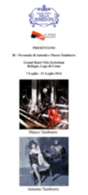 Invito Mostra di Antonio e Marco Tamburro, Hotel Villa Serbelloni, Sesto Senso Art Gallery