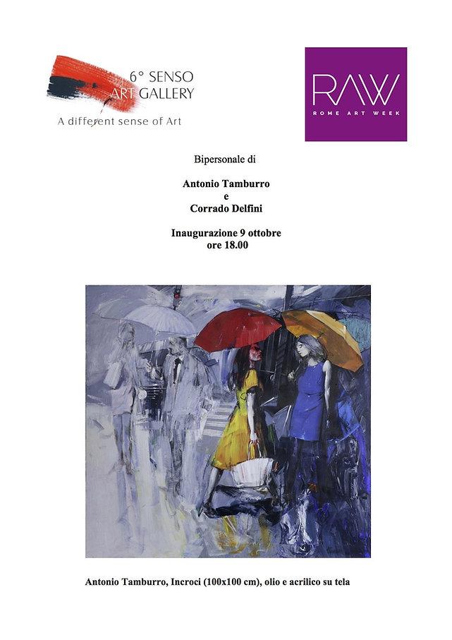 """Invito Rome Art Week """"Bipersonale di Antonio Tamburro e Corrado Delfini"""" Sesto Senso Art Gallery"""