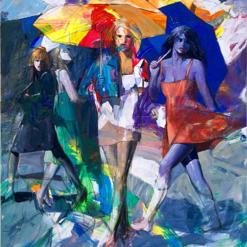 Women and umbrellas