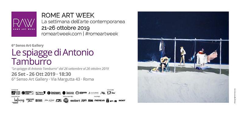 """Invito Rome Art Week mostra """"Le spiagge di Antonio Tamburro"""" Sesto Senso Art Gallery"""