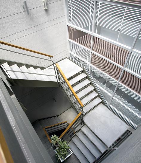 Hotel atrium iron ladder