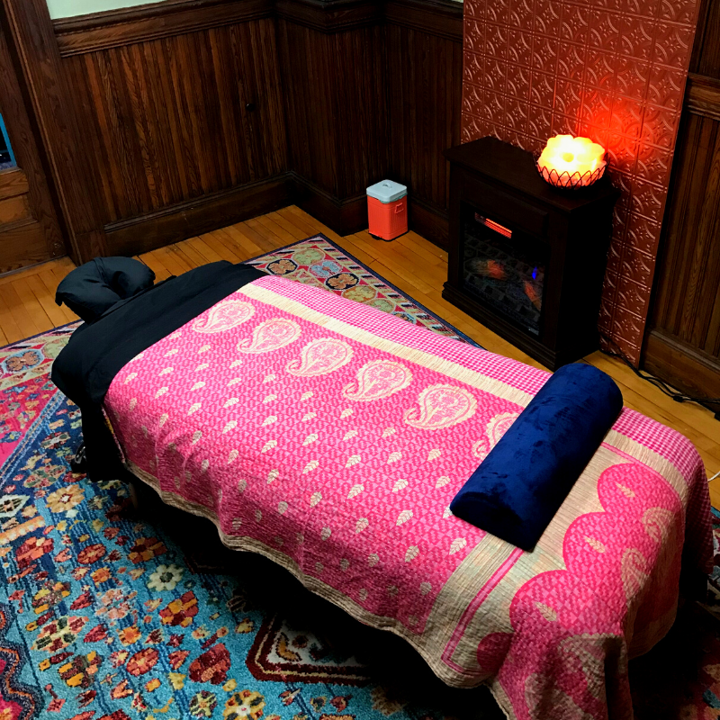 Massage Table; treatment room at Professional massage Works.