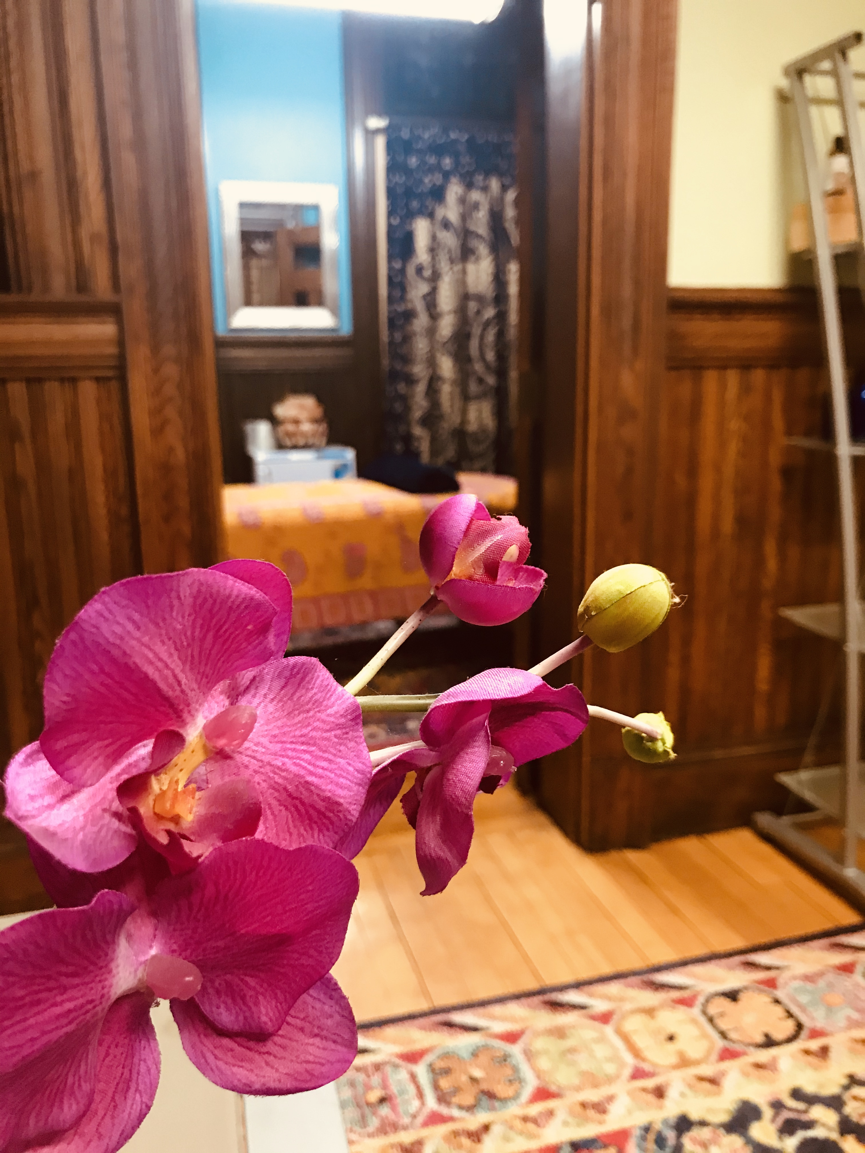 Orchid, massage table, office, shabby chic