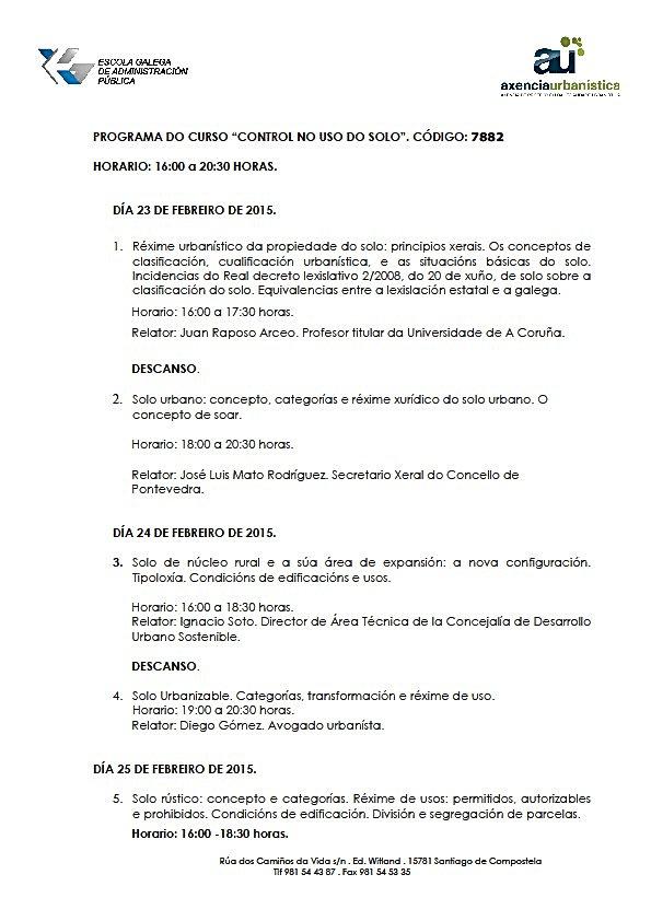 Curso control uso del suelo organizado por EGAP y Axencia de protección da legalidade urbanística en la que interviene el abogado especialista Diego Gómez hablando sobre el suelo urbanizable