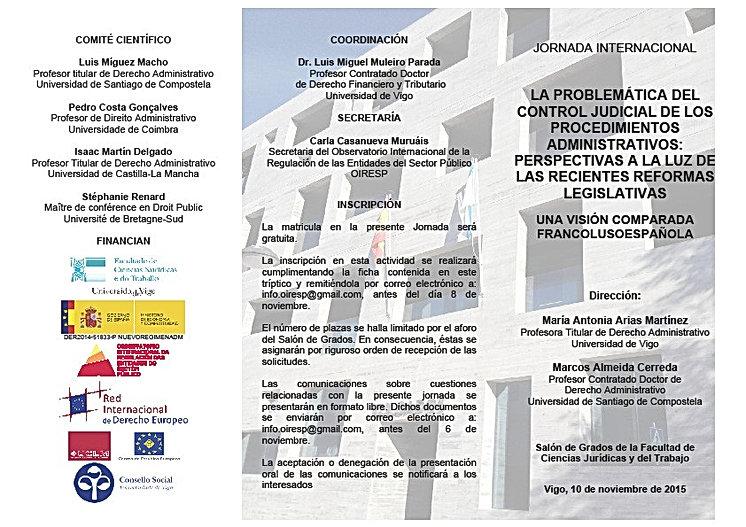 Jornada internacional control judicial procedimientos administrativos Universidad de Vigo interviene el abogado especialista Diego Gómez