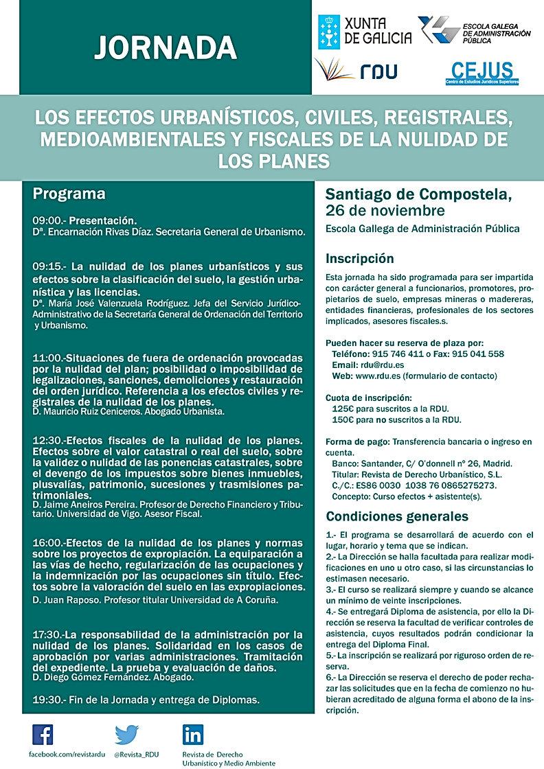 Curso responsabilidad patrimonial por anulación de planes de la Revista de Derecho Urbanístico y la EGAP impartido por el abogado especialista Diego Gómez
