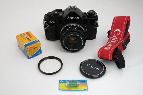 Canon A-1 SLR film camera Super Clean New Light seals + 50mm 1.8 Prime Lens