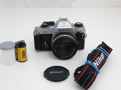 Nikon FG SLR film camera with 50mm 1.8 lens