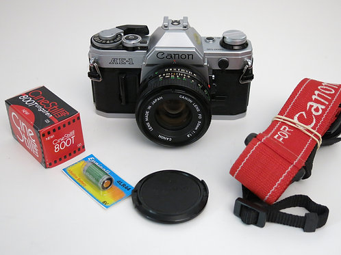 Near mint Canon AE-1 in with 50mm 1.8 lens + new light seals + CineStill 800T